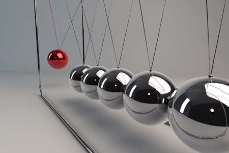 Chrome balancing spheres know as Newton's Cradle (pendulum) photo