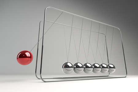 gravitational: Chrome balancing spheres know as Newtons Cradle (pendulum)