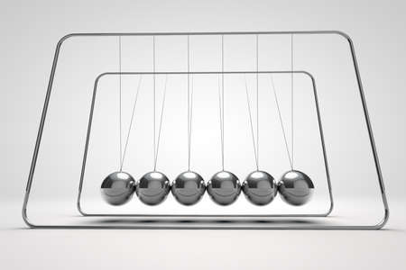 Chrome balancing spheres know as Newtons Cradle (pendulum)