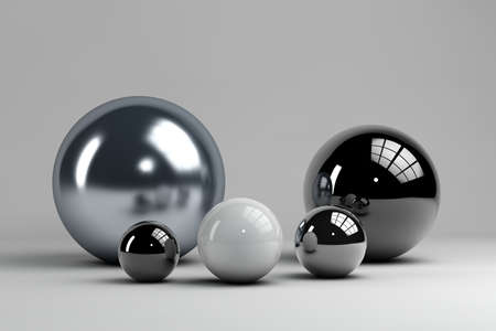 multiple spheres of different materials and sizes