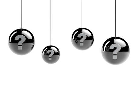3d metal spheres with question marks Stock Photo