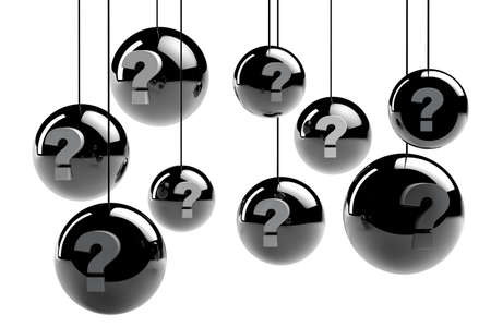 seeking an answer: 3d metal spheres with question marks Stock Photo