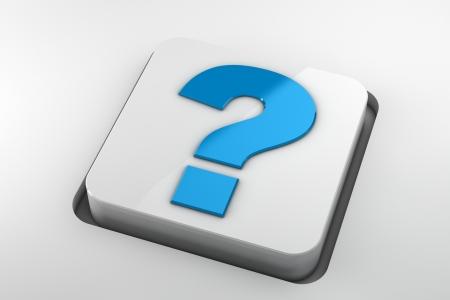seeking solution: blue question mark key on white background