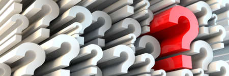 seeking an answer: 3d rendered question marks -  panoramic ratio (websie banner dimensions)