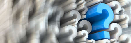 seeking solution: 3d rendered question marks - panoramic ratio (websie banner dimensions)