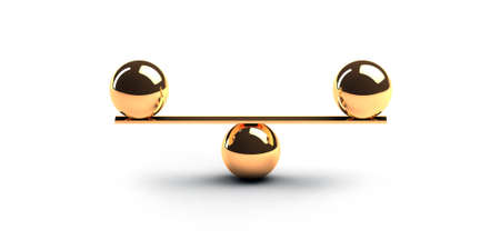 Two gold spheres of same weight balancing