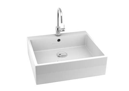 modern simple ceramic sink with chrome tap