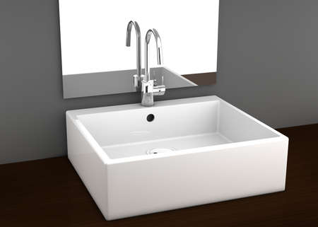 Modern bathroom basin with simple aluminum tap on a wooden drawer