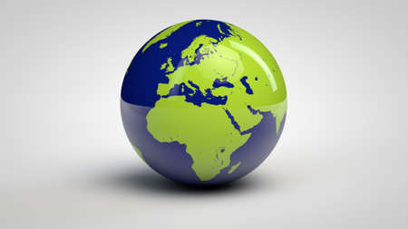 Three dimensional globe with Africa and Europe Stock Photo