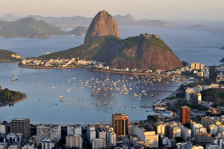 Evening view of Rio de Janeiro's famous landmark Sugarloaf located in Brazil photo