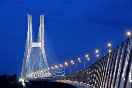 Redzinski bridge in Wroclaw, Poland at night photo