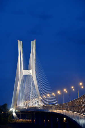 Illuminated bridge over highway in Wroclaw, Poland
