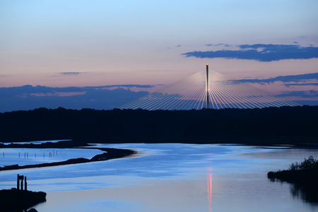 Cloudy sky over Redzinski Bridge in Poland Stock Photo