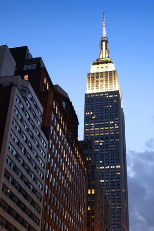 Evening view of Empire State Building located in New York City