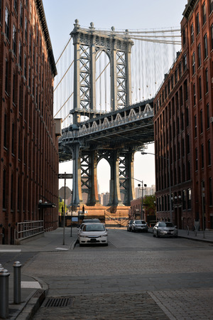 View of Manhattan Bridge from Brooklyn. Industrial part of New York