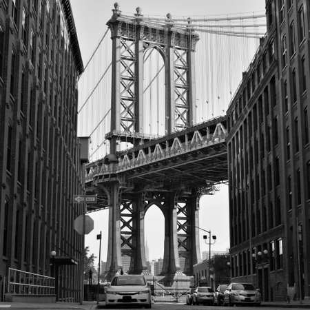 Manhattan Bridge seen from streets of Brooklyn