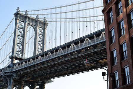 Famous suspension bridge in New york connecting to sides of the city Stock Photo