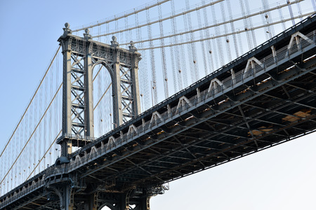 Close up of Manhattan Bridge in New York City, USA