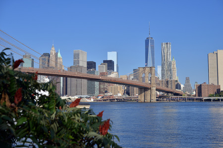 Clear blue sky over Brooklyn Bridge and Manhattan, New York