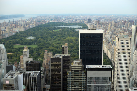 Birds eye view of Central Park in Manhattan, New York City