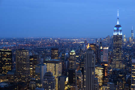 Evening aerial view of Manhattan, New York City