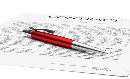 Elegant pen lying on a contract ready to sign