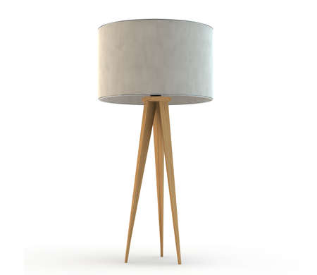 lamp: Modern standing floor lamp with wooden legs Stock Photo