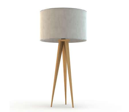 floor lamp: Modern standing floor lamp with wooden legs Stock Photo