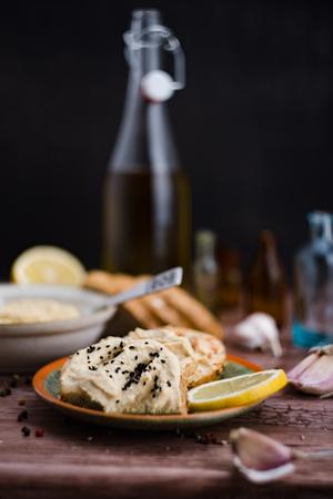 Hummus na chleb i sk?adniki. Zdjęcie Seryjne