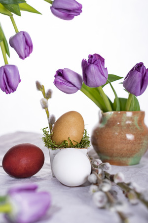 Easter eggs with tulips and willow twigs. Happy Easter.