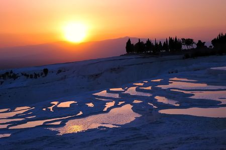 Beautiful sunset in Pamukkale, Turkey photo
