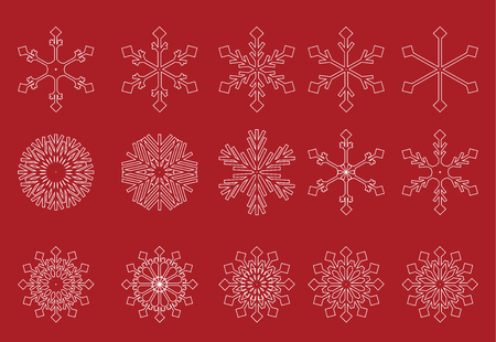 froze: Collection white snowflakes red background Illustration
