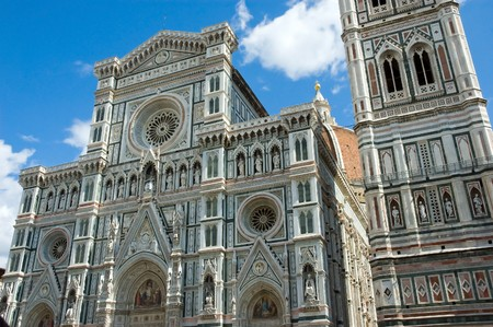duomo: Close-up cathedral duomo bell tower Florence Tuscan Italy