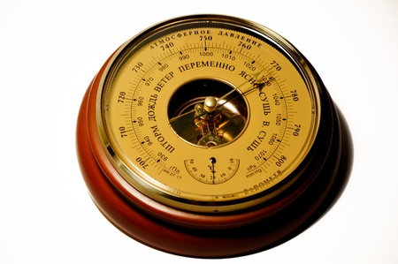 aneroid barometer, with a large dial and thermometer photo