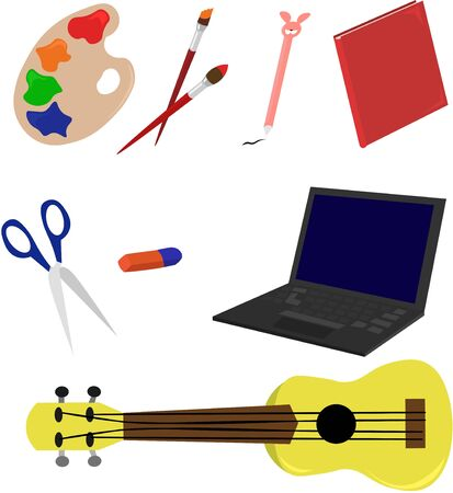 Set hobby items. Drawing, music and games. Reading, poems and skill.