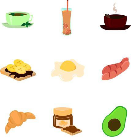 Set of vector ingredients for breakfast. Juice, croissants, sausages. Design for menu, cafe, restaurant.