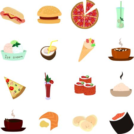 Set a delicious meal. Fast food, desserts, drinks. Design for the logo of a cafe, restaurant, food club, coffee house.