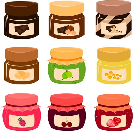 Seth vector bright jars. Jam or honey or chocolate and nut paste. Design for print or poster or flyer.