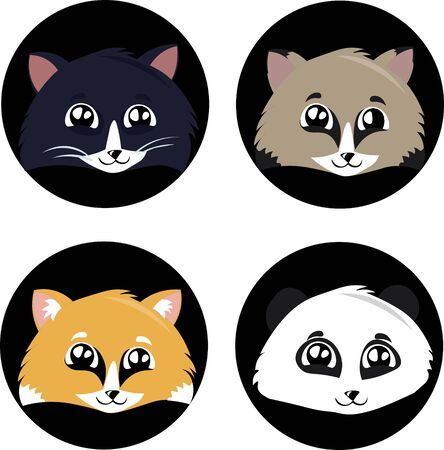 Set of faces of cute animals in cartoon style. Panda, cat, fox, raccoon. Friendship, game. Childrens illustration. Logo design for a veterinary clinic, a zoo, a shelter.
