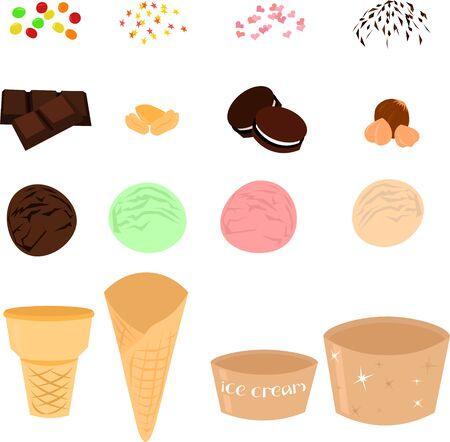 Set of ice cream and dessert ingredients. Chocolate, nuts, cookies, pastry sprinkles. Cafe design, menu. Stock Illustratie