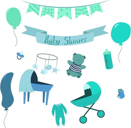 Set of items for the newborn in nautical style. Design elements for cards, prints, posters. Çizim
