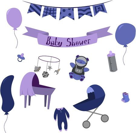 Set of items for the newborn in the space style. Design elements for cards, prints, posters.