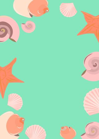 Summer card with seashells and starfish. Pink objects on a blue background.