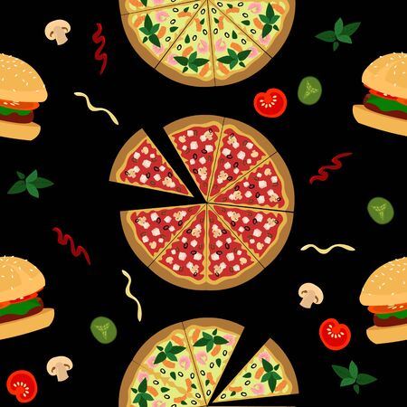 Vector fastfood pattern. Pizza, hamburger, vegetables and sauces on a black background.