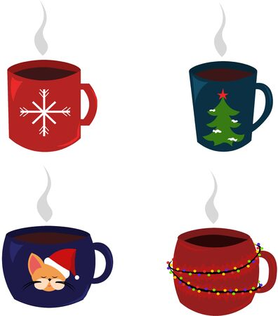 Set of christmas mugs. Mulled, hot tea. New Year Christmas. Warms in the winter. Snowflakes, fir-tree, cat.
