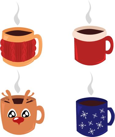 Set of christmas mugs. Mulled, hot tea. New Year Christmas. Warms in the winter. Snowflakes, sweater, deer. Çizim