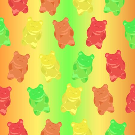 Pattern gummy bears on a colorful bright background. Childrens, summer design.