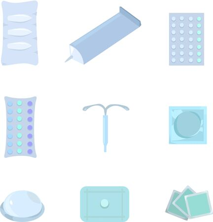 Set of contraceptives. Womens and mens health. Medicines.
