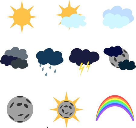 Clear, overcast weather. Solar eclipse, rainbow.