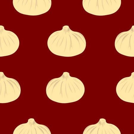 Pattern dumplings on a red background. Cozy kitchen. Design of the menu, signs, cafe, booklet.